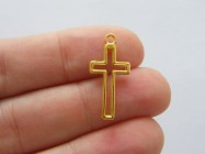 BULK 50 Cross charms gold tone GC39