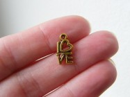 16 LOVE  charms antique gold tone GC448