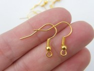 50 Earring hooks  18 x 19mm with ball and wire bright gold tone