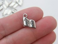 12 Book charms antique silver tone PT7