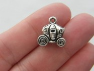 5 Carriage charms antique silver tone TT42