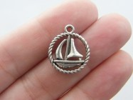 8 Boat charms antique silver tone TT56