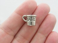 BULK 50 Baby cup charms antique silver tone P580