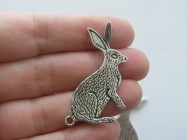 4 Hare connector charms antique silver tone A252