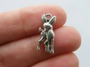 10 Deer charms antique silver tone A235