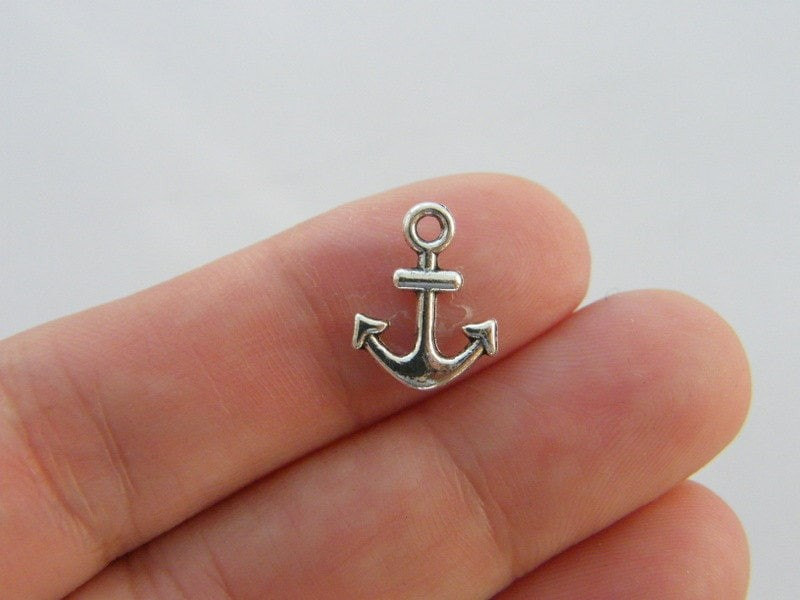 14 Anchor charms antique silver tone SC111