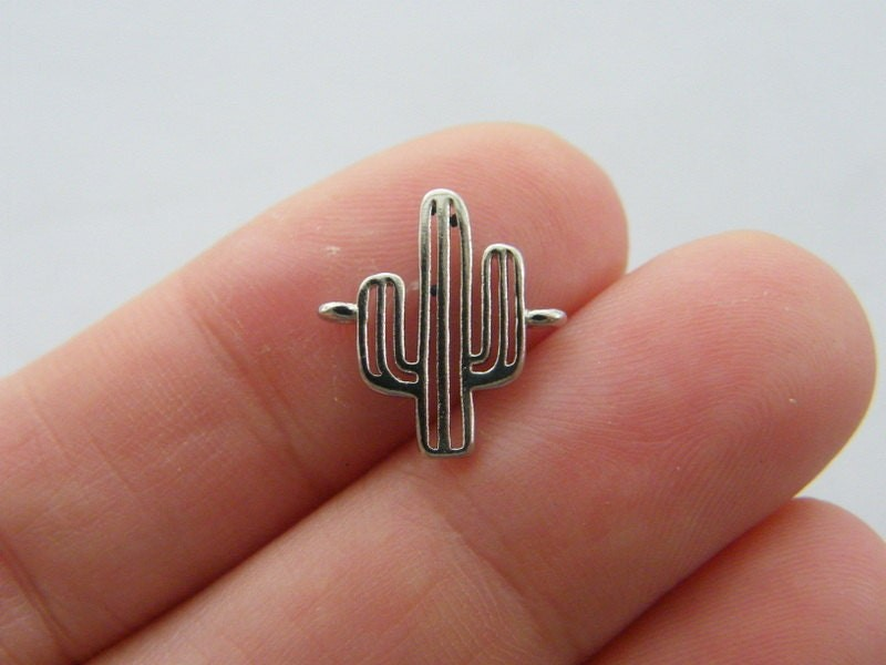 2 Cactus connector charms silver tone L181