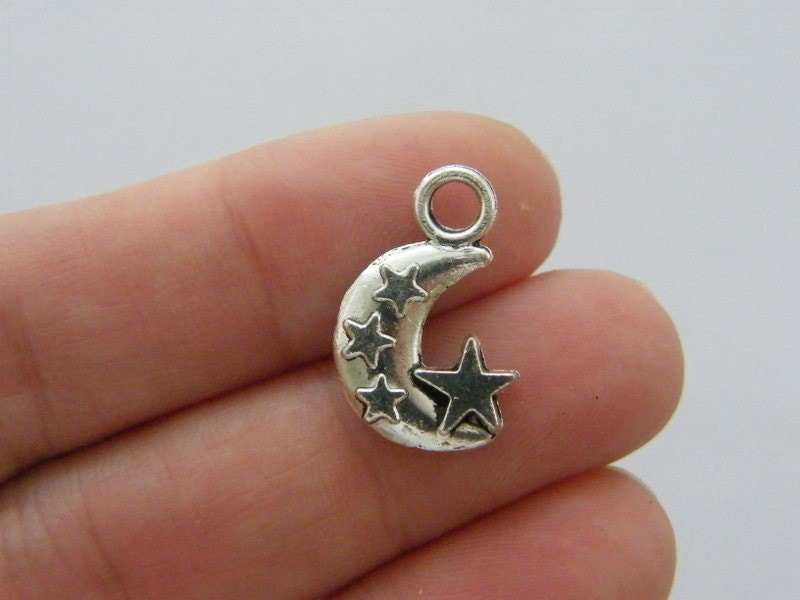 8 Moon charms antique silver tone M13