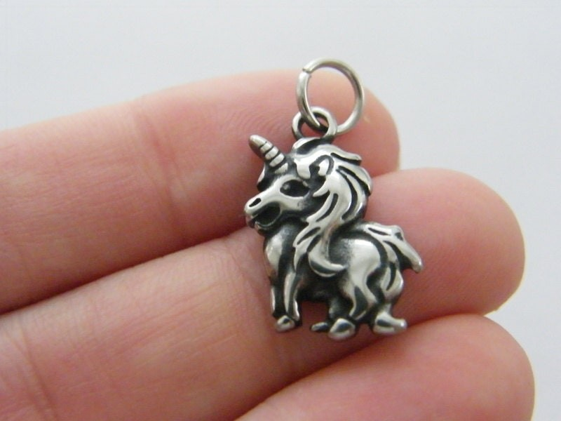 1 Unicorn charm dark silver tone stainless steel A618