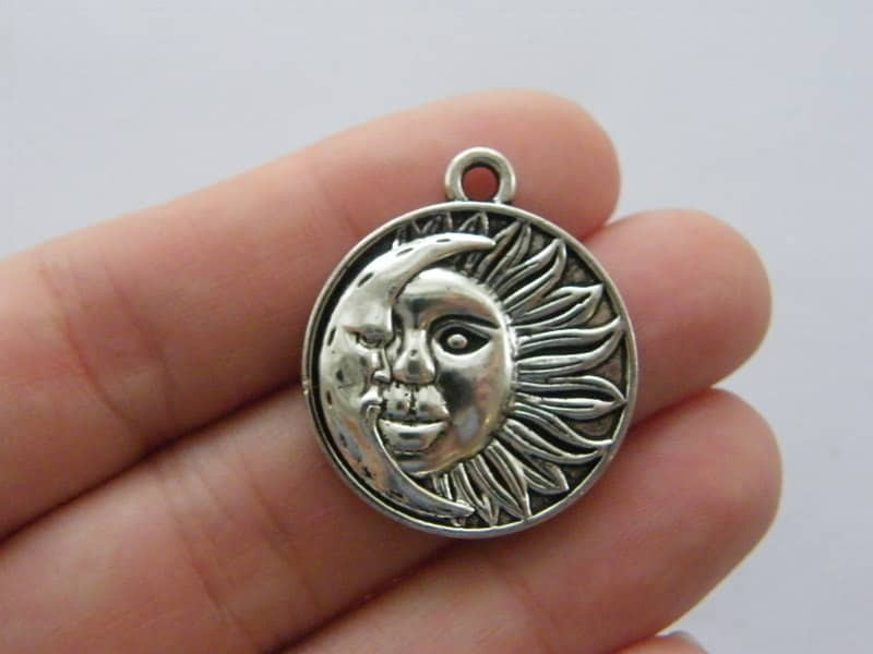 4 Sun moon charms antique silver tone S113