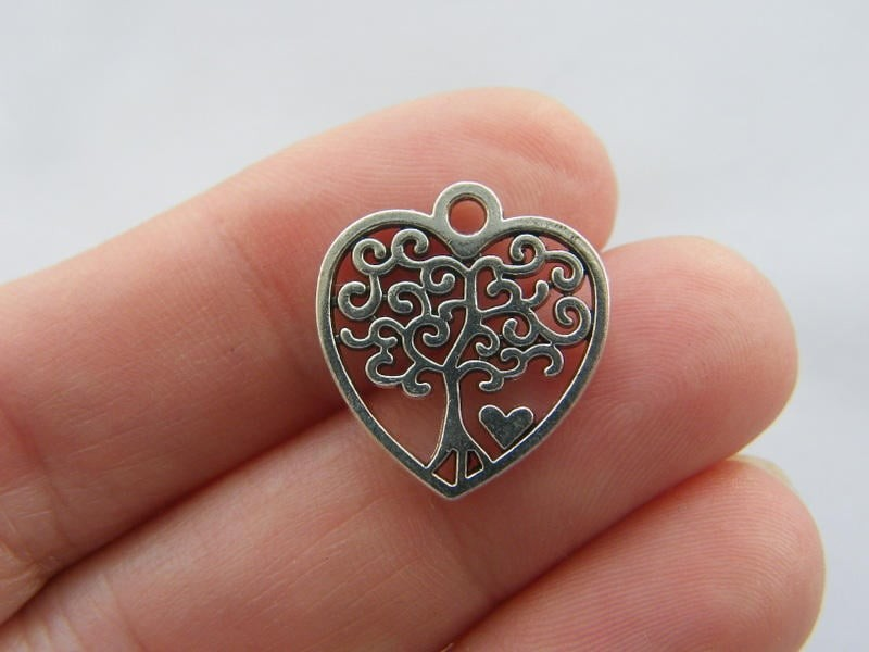 6 Tree charms antique silver tone T86