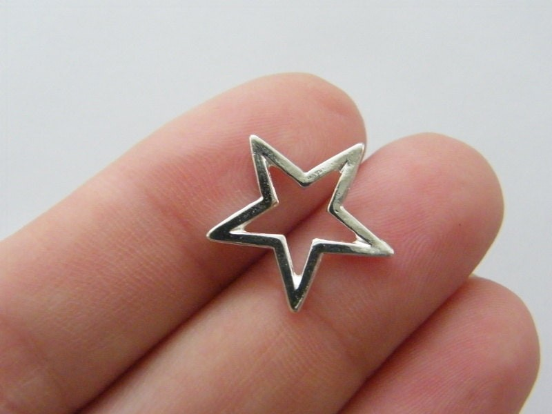 12 Star charms silver plated S115