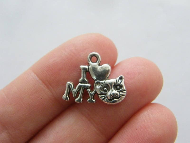 12  I love my cat charms antique silver tone A871