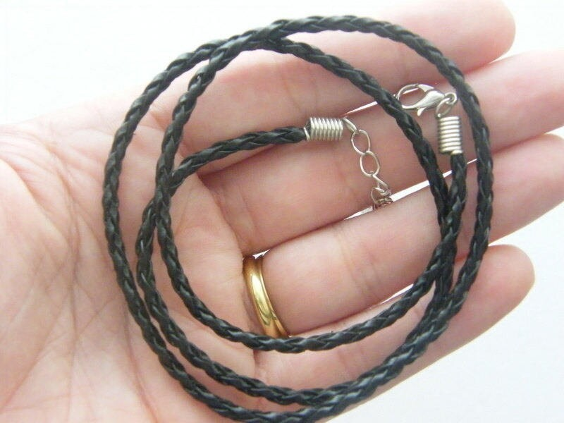 4 Black  leather braded necklace 50.8cm  20""
