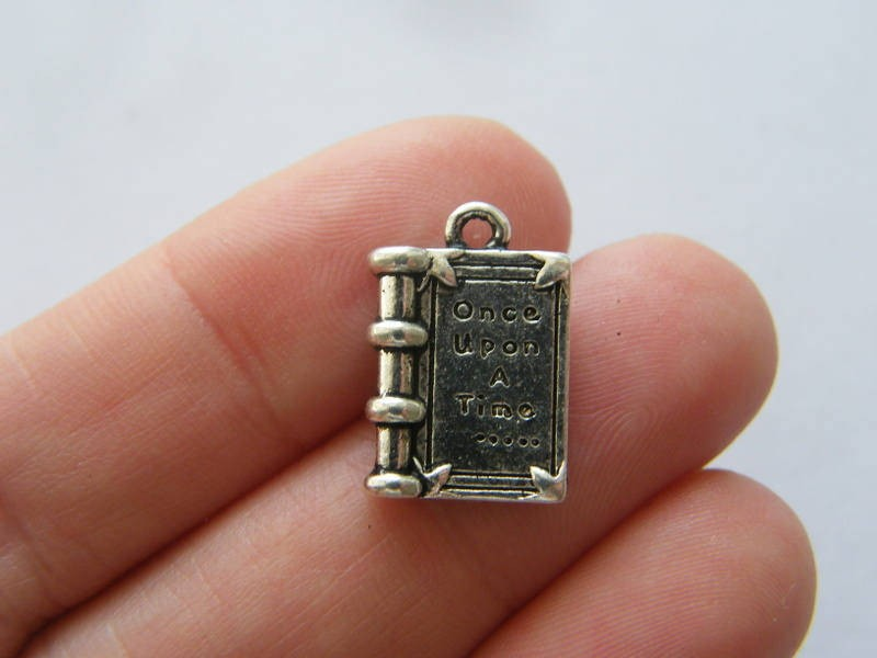 BULK 30 Once upon a time ... book pendants antique silver tone PT106