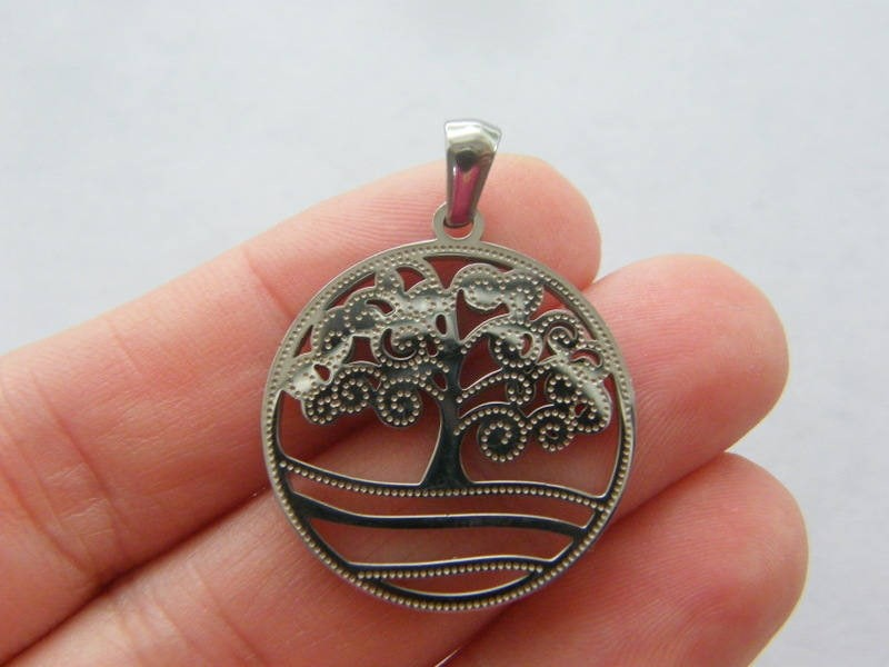 1 Tree pendant silver tone stainless steel T108