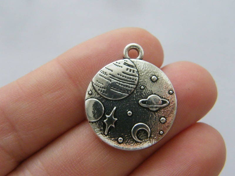 2 Saturn planet moon stars charms antique silver tone S79