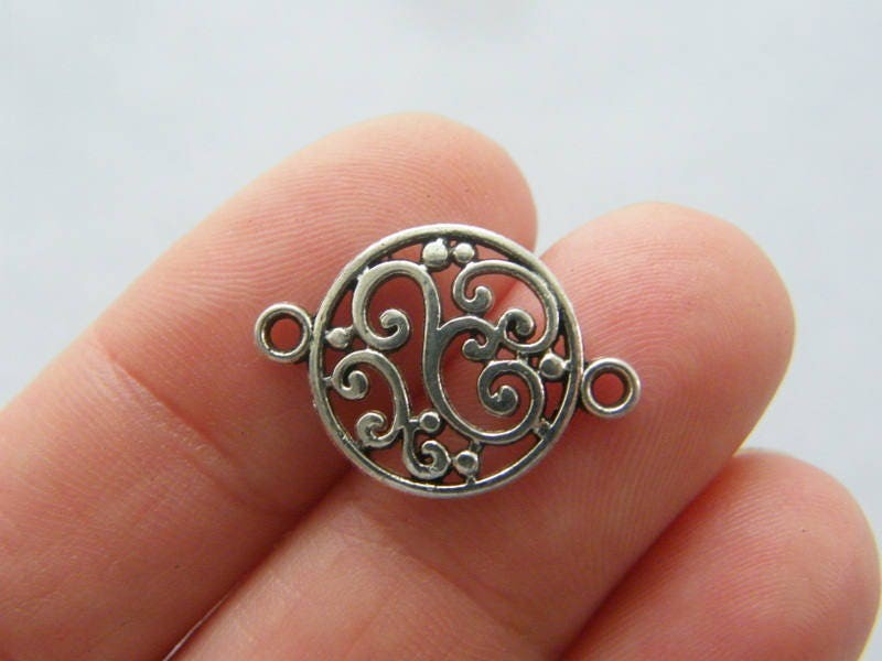 12 Pattern connector charms antique silver tone FM42