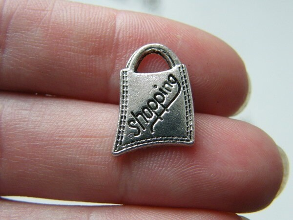 10 Shopping bag charms antique silver tone CA226