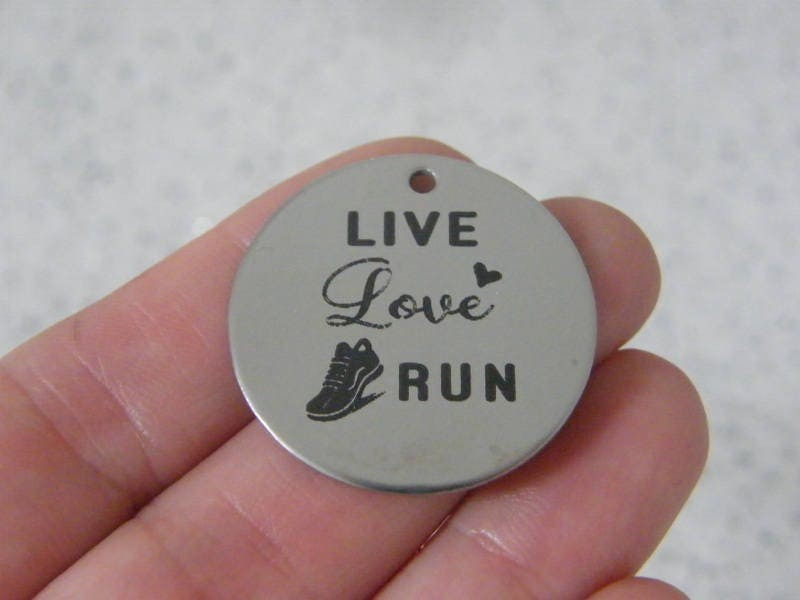 1 Live love run stainless steel pendant JS2-19