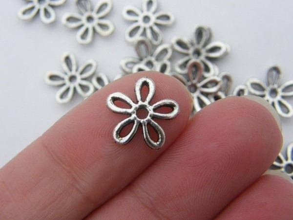 20 Flower bead caps 11mm antique silver FS156
