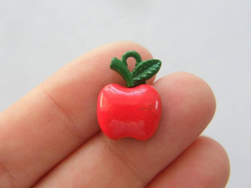4 Apple charms red and green tone FD157