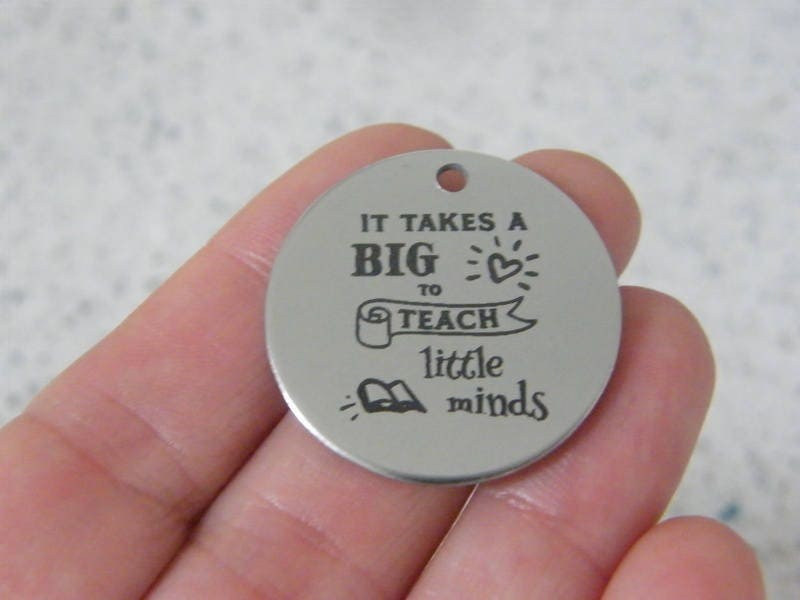 1  It takes a big heart to teach little minds stainless steel pendant JS3-11