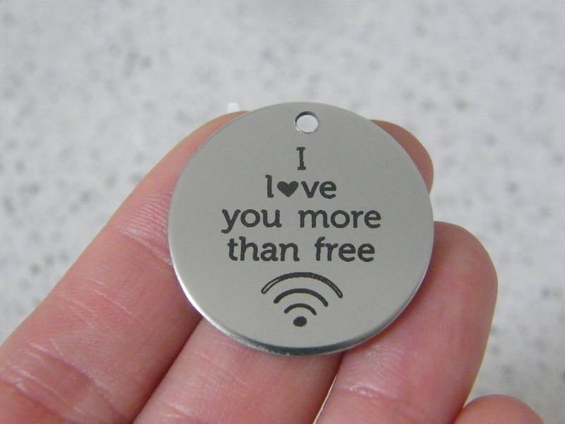 1  I love you more than free wifi stainless steel pendant JS3-10
