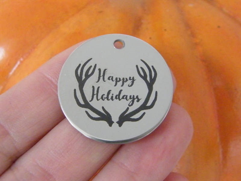 1 Happy Holidays stainless steel pendant JS1-11