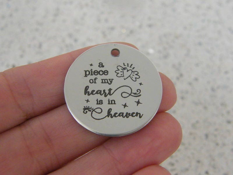 1 a piece of my heart is in heaven stainless steel pendant JS1-14