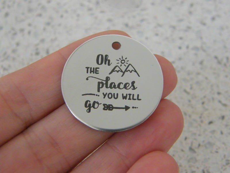 1 Oh the places you will go stainless steel pendant JS1-48