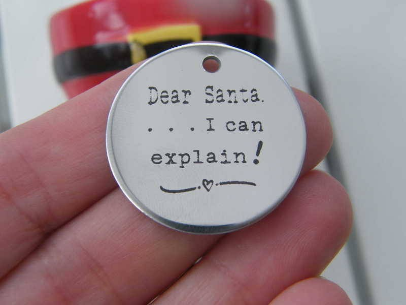 1 Dear Santa ... I can explain ! stainless steel pendant JS2-6