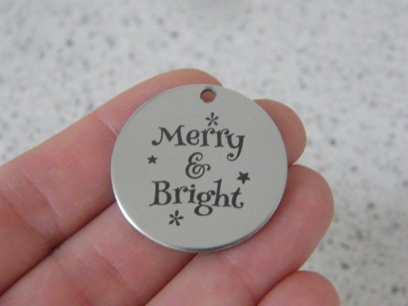 1 Merry & bright stainless steel pendant JS3-40