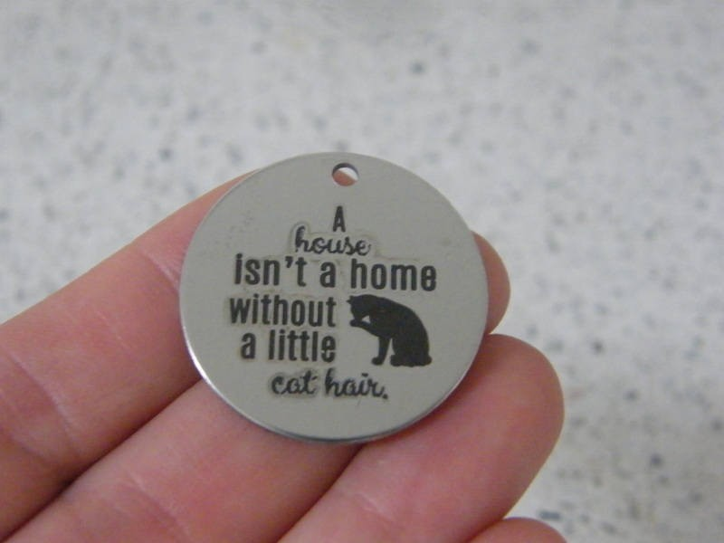 1 A house isn't a home without a little cat hair stainless steel pendant JS3-20