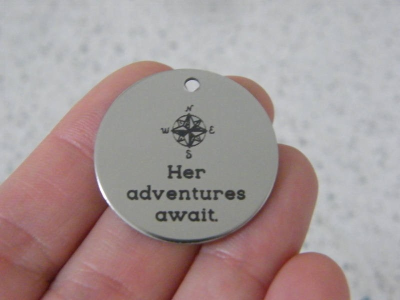 1 Her adventures await stainless steel pendant JS3-30