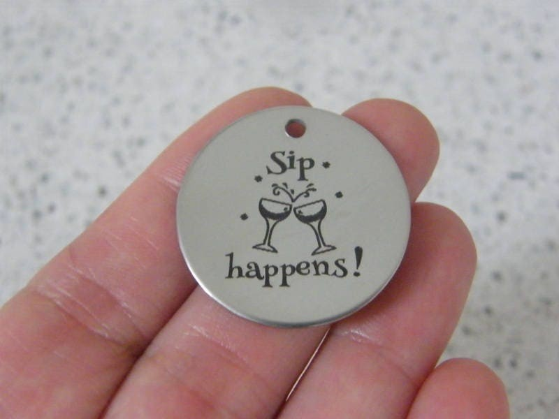 1 Sip happens ! stainless steel pendant JS2-45