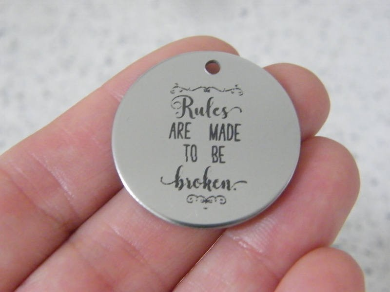 1  Rules are made to be broken stainless steel pendant JS3-12