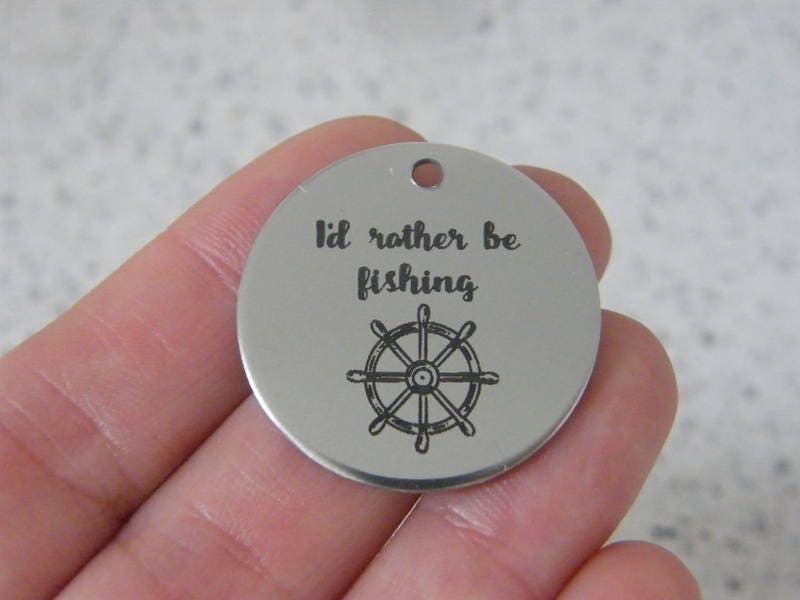 1  I'd rather be fishing stainless steel pendant JS3-1