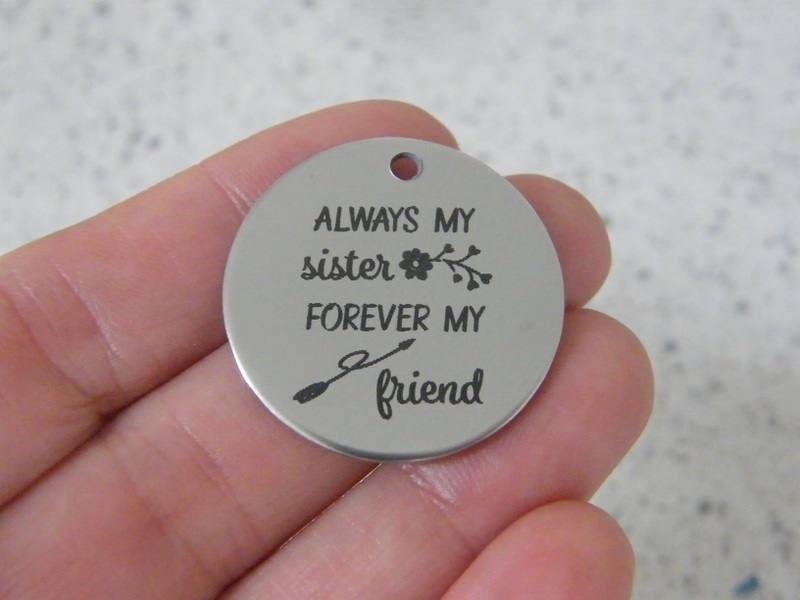 1  Always my sister forever my friend stainless steel pendant JS2-35