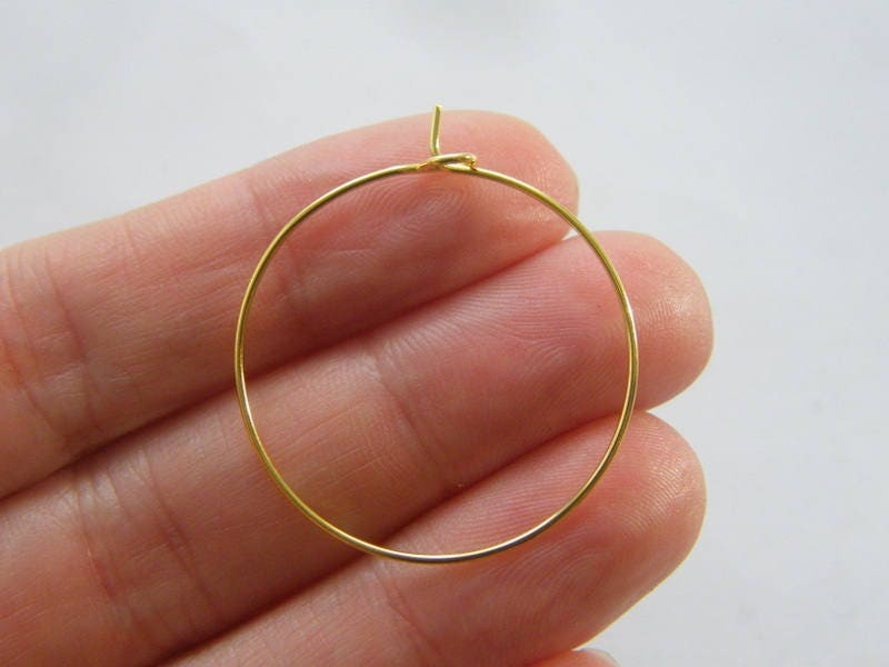 50 Wine glass charm hoops 34 x 30mm gold plated tone FS516
