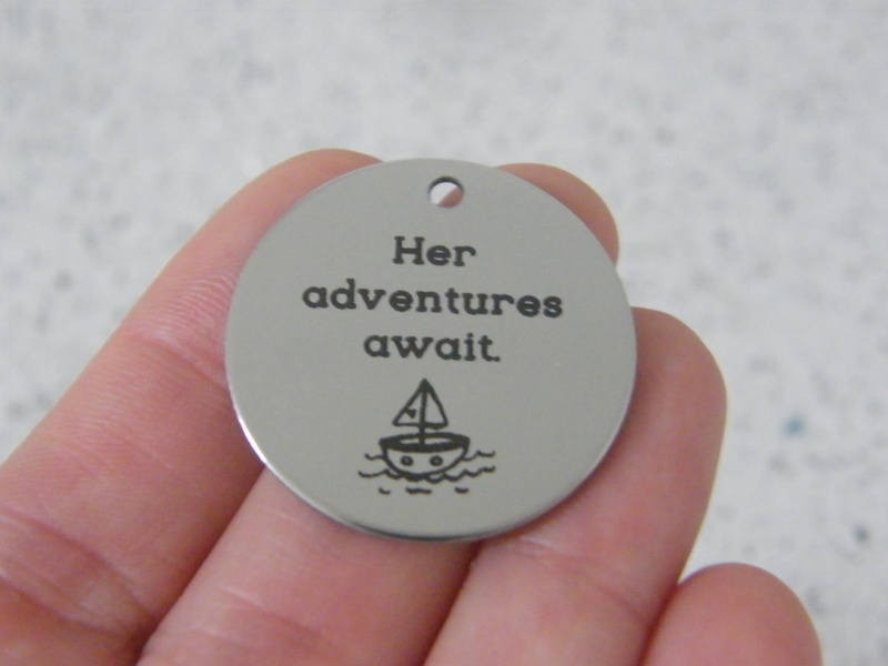 1 Her adventures await stainless steel pendant JS3-29