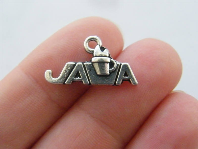 2 Java charms antique silver tone FD257
