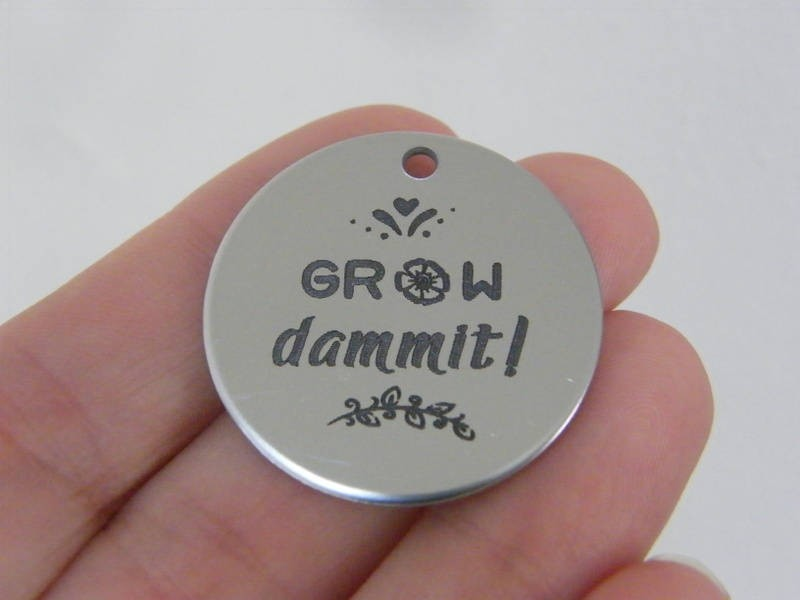 1 Grow dammit ! stainless steel pendant JS4-27