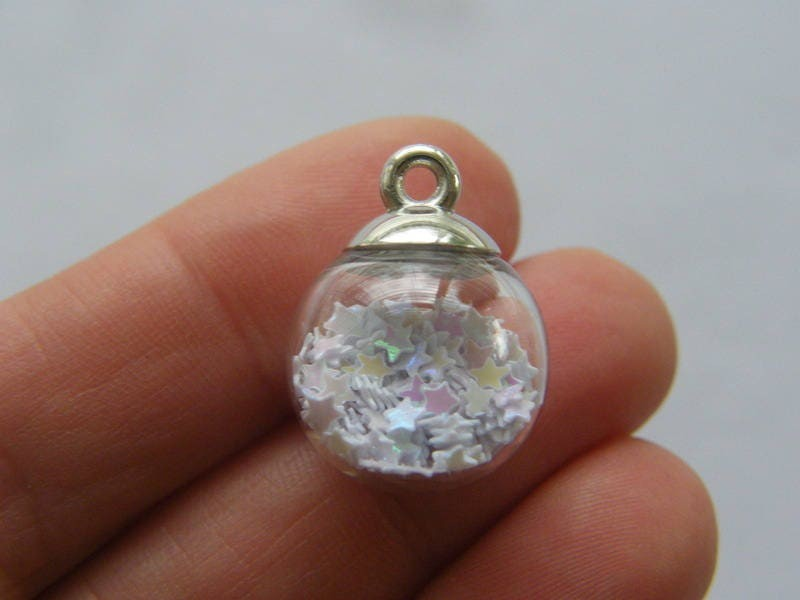 4 Glass bottle white star pendant silver tone cap with ring FM133