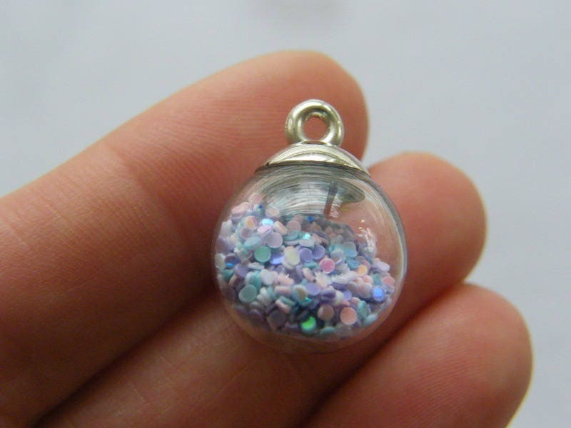 4 Glass bottle pendant silver tone cap with ring FM141