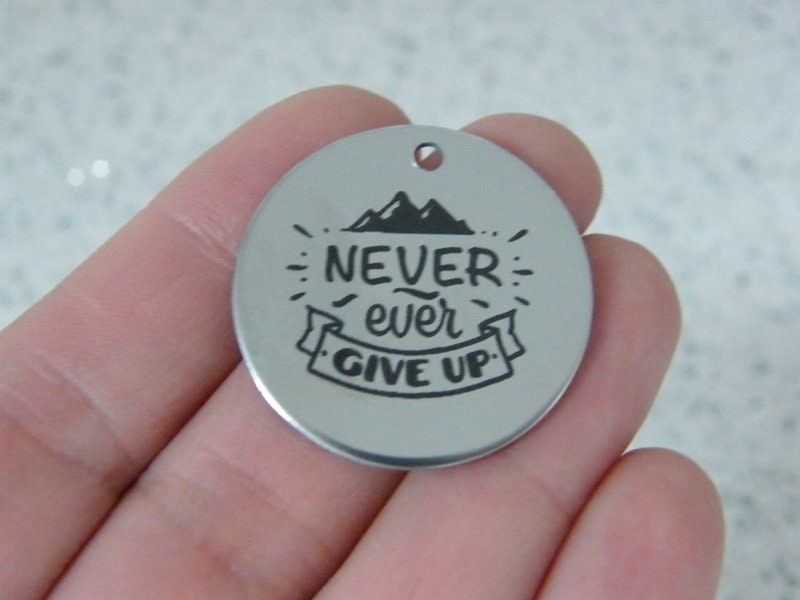 1 Never ever give up stainless steel pendant JS6-36