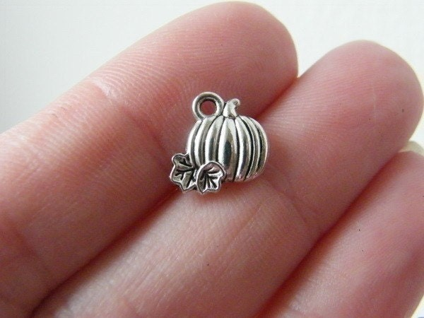 BULK 50 Pumpkin charms antique silver tone FD281