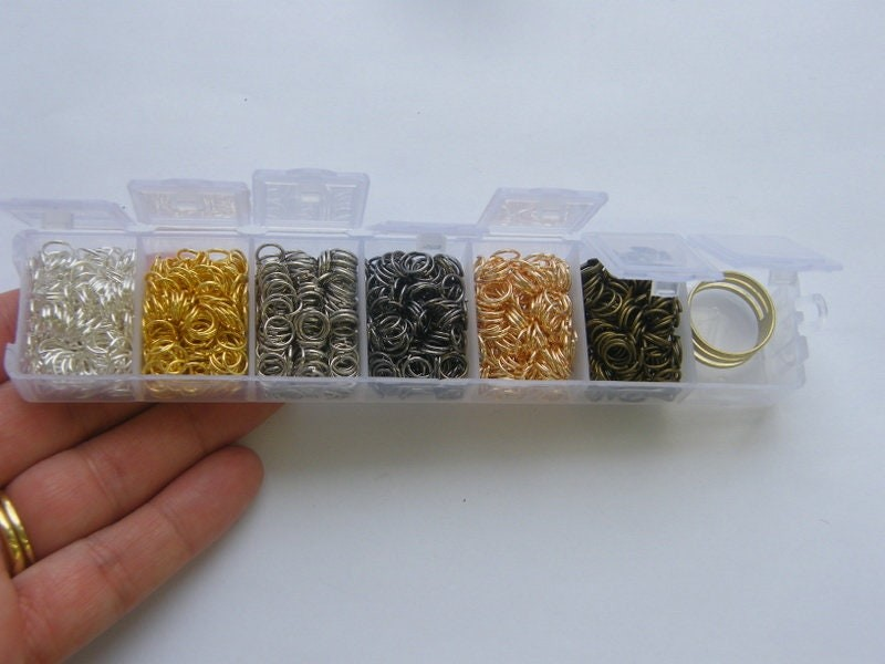 1 Box assorted jump rings mixed tones 1200 pieces JR4