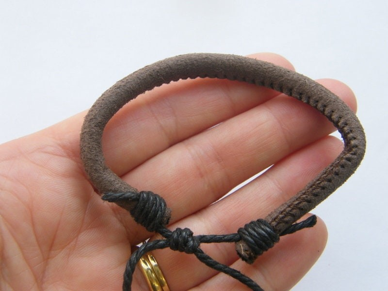 1 Brown leather and cord bangle bracelet  FS312