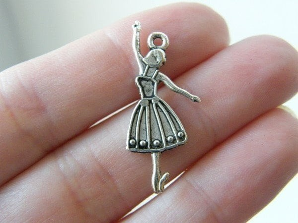 10 Ballet dancer charms antique silver tone FB31